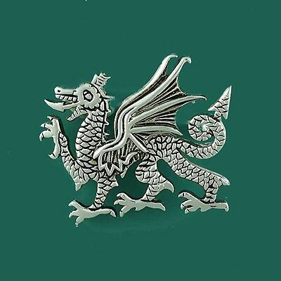 Welsh Medieval Wales Celtic Dragon Brooch Pin Silver Plated - for Hat Tie Jacket