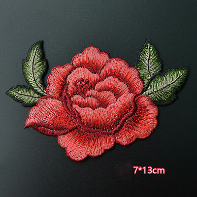 2PC Red Rose Flower Embroidery Applique Cloth DIY Sew on Patches Badge Sewing CN