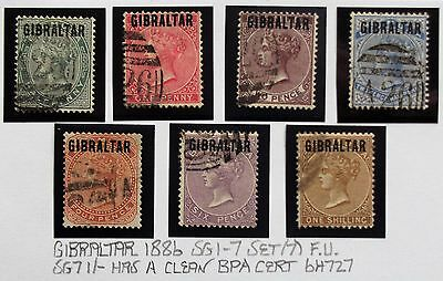(D083) 1886 Set of (7) FU #1-7 With certificate for 1/- R.P.S.