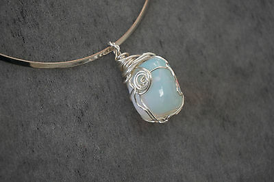 Free Choker with Handmade Wire Wrapped Artisan Pendant with Opalite Stone