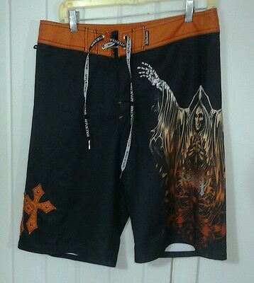 OZZY OSBOURNE Affliction Swim Suit Board Shorts Trunks 32 No Fly No Liner GUC