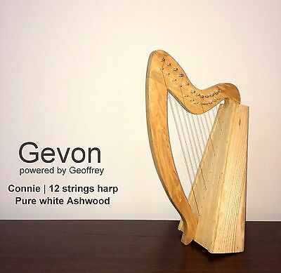 Gevon | 12 Strings Ash wood white Connie Irish Harp, Carry bag & Tunning key