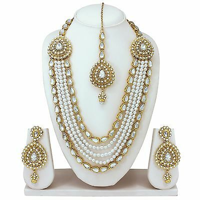 Indian Bollywood Style Fashion Gold Tone Bridal Necklace Earrings Jewelry set