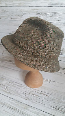 Vintage 1960's Green & Brown Wool Men's Trilby. Size 7.