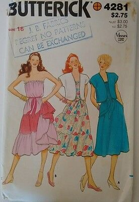 UNCUT Vintage 70's Butterick #4281 Strapless Tired Ruffle Gypsy Peasant Dress