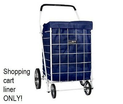 Folding Shopping Cart Dark Blue Rolling Utility Trolley Wheels Liner with Hood