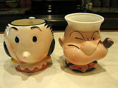 Rare Vintage 1980 King Features Syndicate POPEYE & OLIVE OYL Coffee Mugs