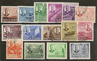 North Borneo 1950 Kgvi Set Of (15)Vals To $10 Arms