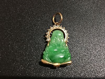 Chinese Jade 14K Gold Pendant With Diamonds