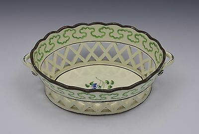 Pretty Georgian Botanical Creamware Chestnut Basket c.1770