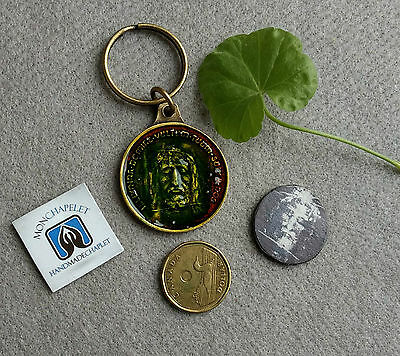 Religious deluxe keychain Holy Face Jesus embedded with blessed the HF oil