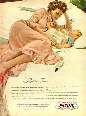 1946 vintage Ad, Pacific Shhets, Percale, Muslin, great art by Gannam!! -012514