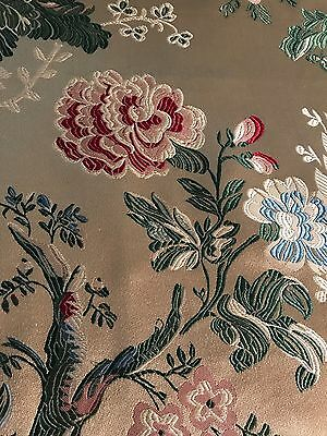 "SCALAMANDRE ""MONT BLANC"" SILK LAMPAS FLORAL ON GOLD 1 Yard Remnant"