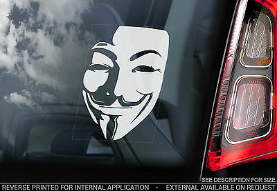 Anonymous Mask - Car Window Sticker - V for Vendetta Guy Fawkes Hacker Face