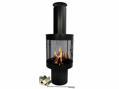 1 black iron chimnea with cage fire pit fireplace 360 heating