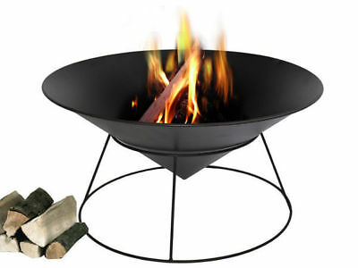 1 black iron oval fire pit place cone on stand pressed sheet metal