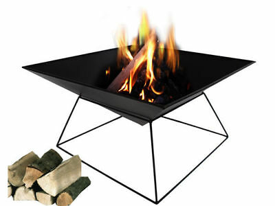 1 black iron square fire pit place pyramid on stand pressed sheet metal