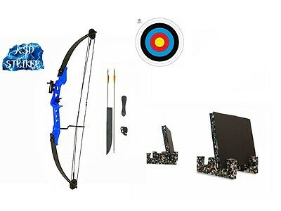 Archery Striker Youth Kids Junior Blue Compound Bow and Arrow Full Set & Target