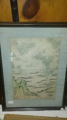 Early chinese watercolor inscribed landscape thick paper Asian art simple old NR