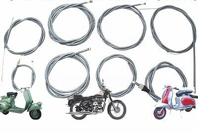 LAMBRETTA GP LI TV SX  FRICTION FREE VIJAY SUPER GREY CONTROL CABLE KIT @AEs