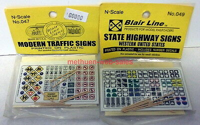 Blair Line Signs~N-Scale~047 & 049~Traffic & State Highway,Western USA~NOS~