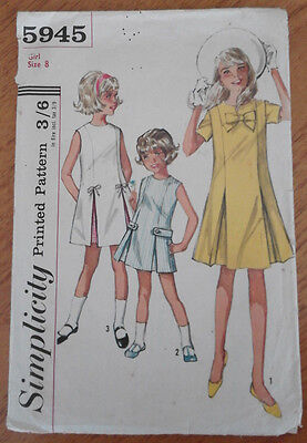"""Vintage Simplicity 5945 1960s Sewing Pattern Uncut Girls' Dress Size 8 26"""" Chest"""