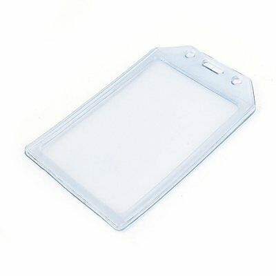 PVC Vertical Name Tag ID Work Exhibition Badge Card Holder Clear Blue E4C4