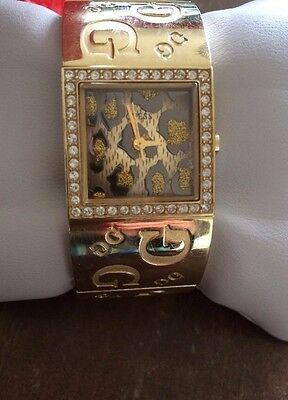 Guess Watch Gold Diamanté With  Animal Print Face