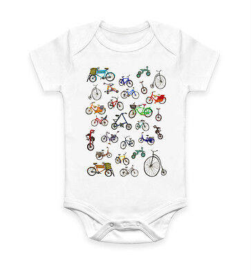 Funny Cute Bicycles Baby Grow Bodysuit Baby Suit Vest Ideal Gift Unisex (856)