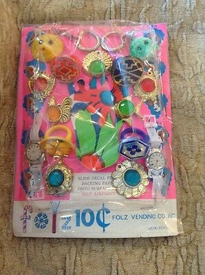 60-70's Folz Vending Card Metal Clad Charms Flickr Watch Dog Turtle Aztec Rings