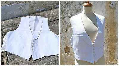 Antique 1900/1930 men Tuxedo vest white textured cotton & sateen at the back