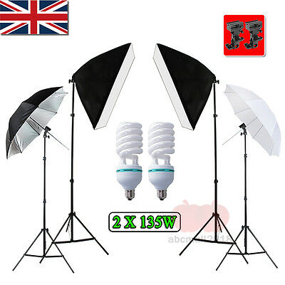 Photo Studio 2x135W Softbox Continuous Lighting & Flash Umbrella Light Stand Kit