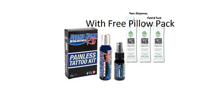 DERMA-NUMB-KIT-Topical-Anesthetic-Spray-Gel-Painless-Before-During-Tattoo with F