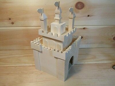 Unfinished Wood Decorative English Castle Birdhouse