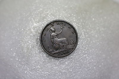 Uk Gb Farthing 1860 Victoria Nice Details A60 #z4028