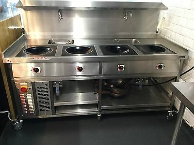 Chinese Wok Electric Induction 4 Hob Commercial Cooker Restaurant Kitchen Cateri