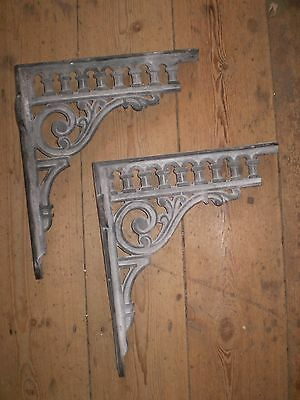 Architectural Salvage,2 Ornate French Cast Iron Shelf Brackets,lovely Condition