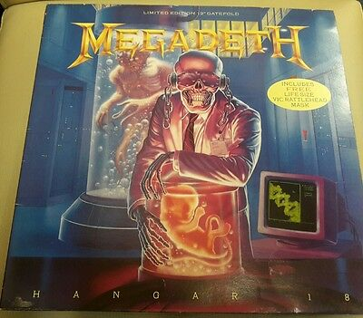 "megadeth hangar 18 limited edition 12"" gatefold vinyl record incl mask single"