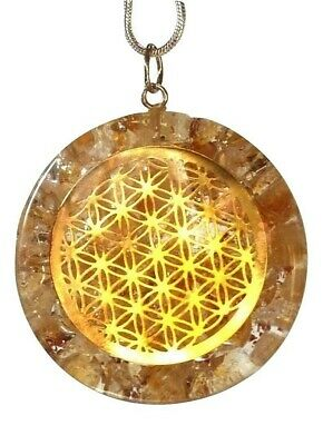 Reiki Energy Charged Citrine Flower Of Life Orgone Crystal Pendant Silver Chain