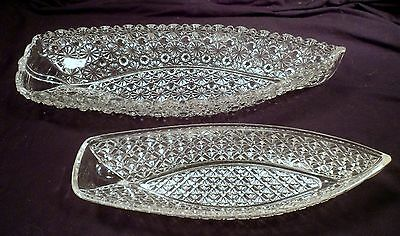 2 Antique Glass Boats, Elaborate Decorations, EAPG, Bryce Brothers, Daisy,Button