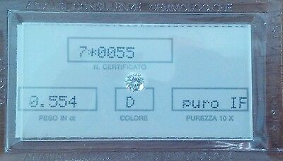 Diamante da investimento 0.554ct colore D puro IF certificato in blister AFFARE