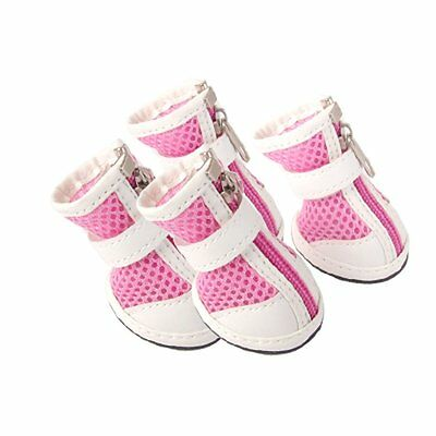 Size 3 Nonslip Rubber Outsole Mesh Boots Dog Shoes Pink White BF