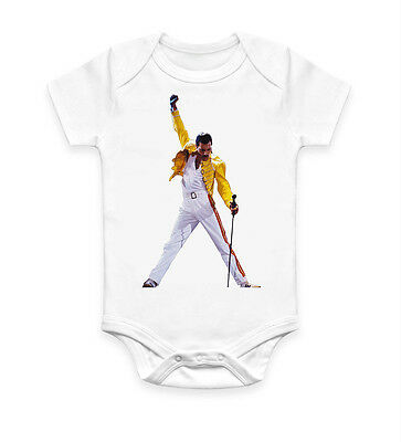 Funny Freddie Mercury Cool Baby Grow Bodysuit Baby Suit Ideal Gift Unisex 2415