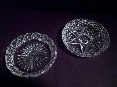 Two American Brilliant Period Cut Crystal Dishes, Glass, Handmade Antique