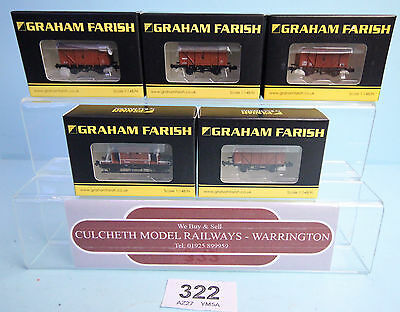Graham Farish 'n' Rake 5X Assorted Br Freight & Brake Van Wagons Boxed #322
