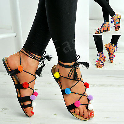 New Womens Pom Pom Lace Up Flat Fringe Sandals Ladies Girls Summer Shoes Size Uk