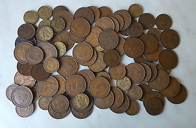 Job MIXED Lot GB George Vl COINS x 97 - Penny, 1/2 Penny, 3d (Dated 1937-1952)