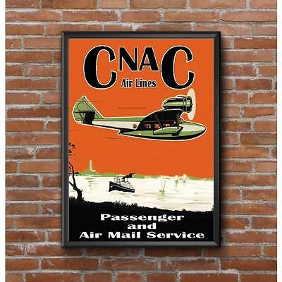 CNAC Airlines Travel Poster - Douglas Dolphin Airplane Late 1930's