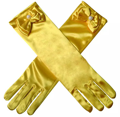 Beauty And The Beast Princess Long Satin Bow Tied Gloves for Costume Prom Dress