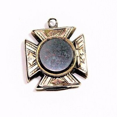 Antique Victorian Maltese Cross Bloodstone Photo Locket Pendant (c1800s)